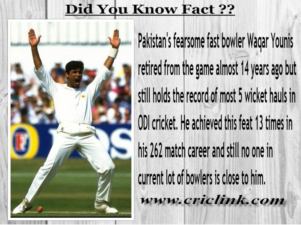Waqar Younis - Most Five Wicket Hauls in ODI cricket