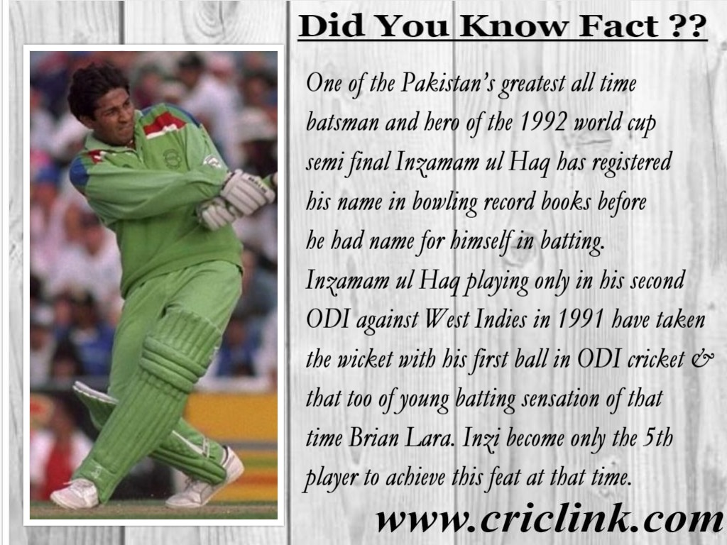 Not many cricketing fans are aware of the bowling recordmade by Inzamam ul Haq.
