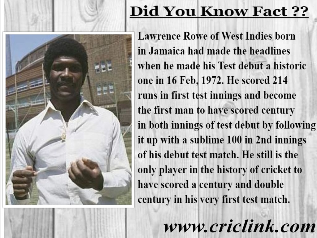 Lawrence Rowe - Fact Corner Criclink