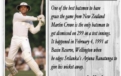 Martin Crowe is the only man to get dismissed for 299