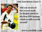 Did you aware of the world record Shahid Afridi made in his first ODI ?