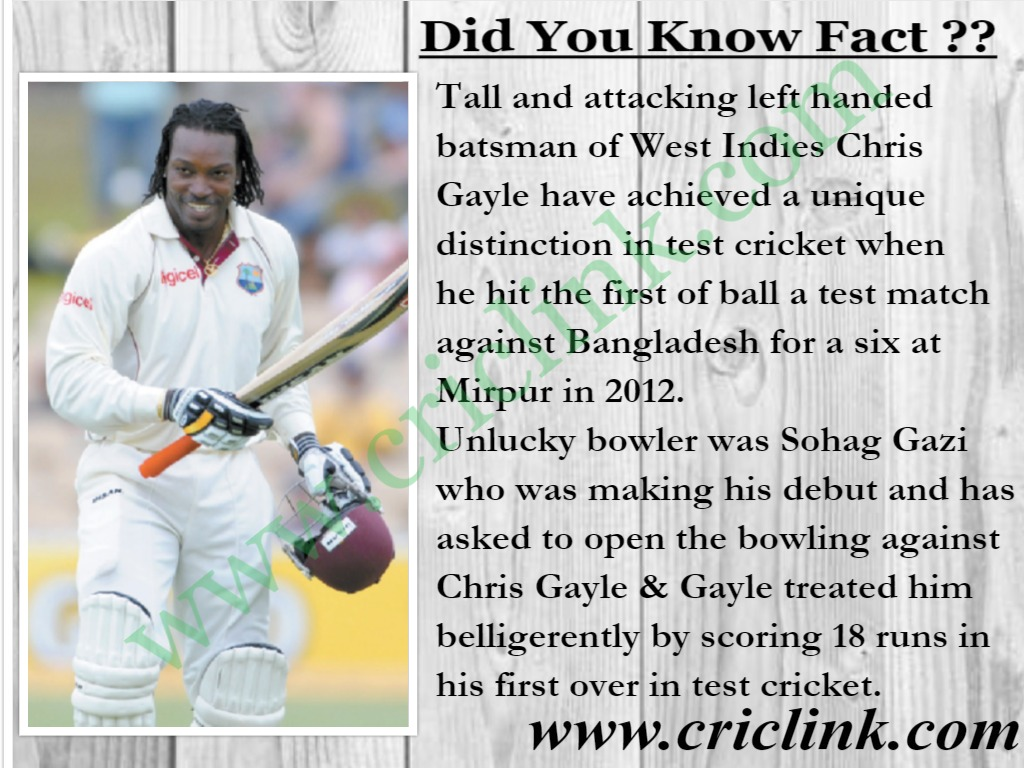 Chris Gayle is the only player to hit first ball in test match for six