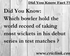 Did You Know: Which player took most wickets in debut series ?