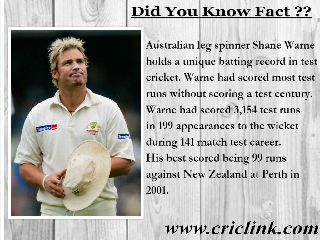 Did You know! Shane Warne has a batting record to his name.