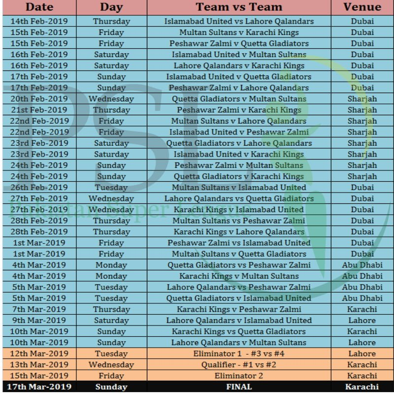 PSL 2019 Schedule