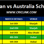 Pakistan vs Australia ODI Schedule 2019