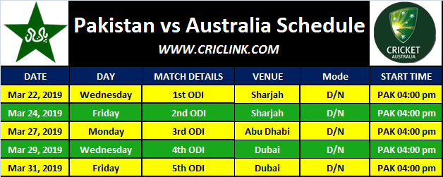 Pakistan vs Australia 2019 Schedule