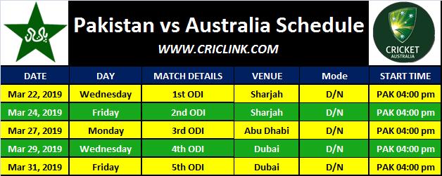 Pakistan vs Australia 2019 Schedule