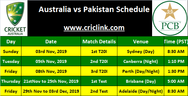 Pakistan in Australia 2019, Schedule