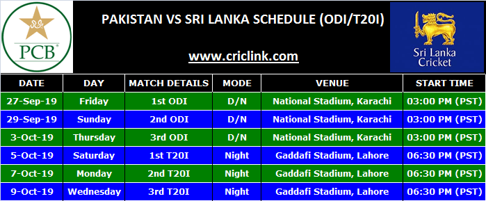 Srilanka Tour of Pakistan 2019 Schedule (ODI & T20I)