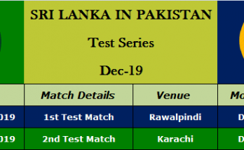 Srilanka Tour of Pakistan 2019 Schedule