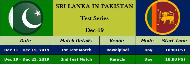 Sri Lanka Tour of Pakistan - Test Series Schedule 2019