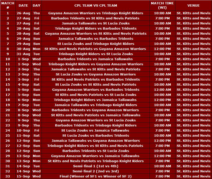 CPL T20 Schedule